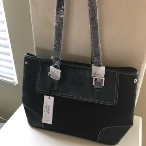 Coach black tote canvas w/stuffing NEW never used